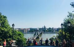 The chain bridge view from the furnicular trem - Budapest