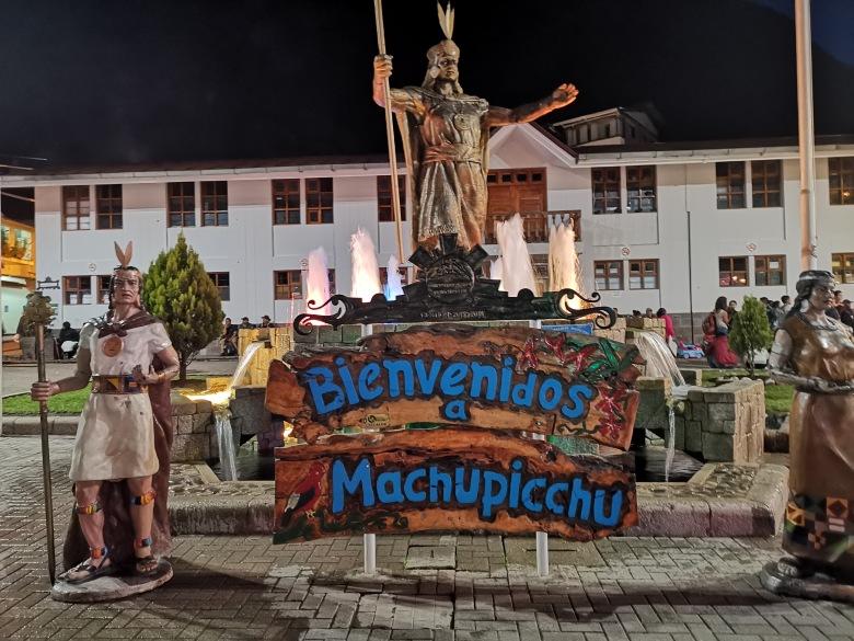 Welcome to Machu Picchu sign at Aguas Calientes, Peru