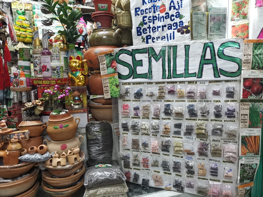 Market stalls with pots and seeds at Arequipa witch's market