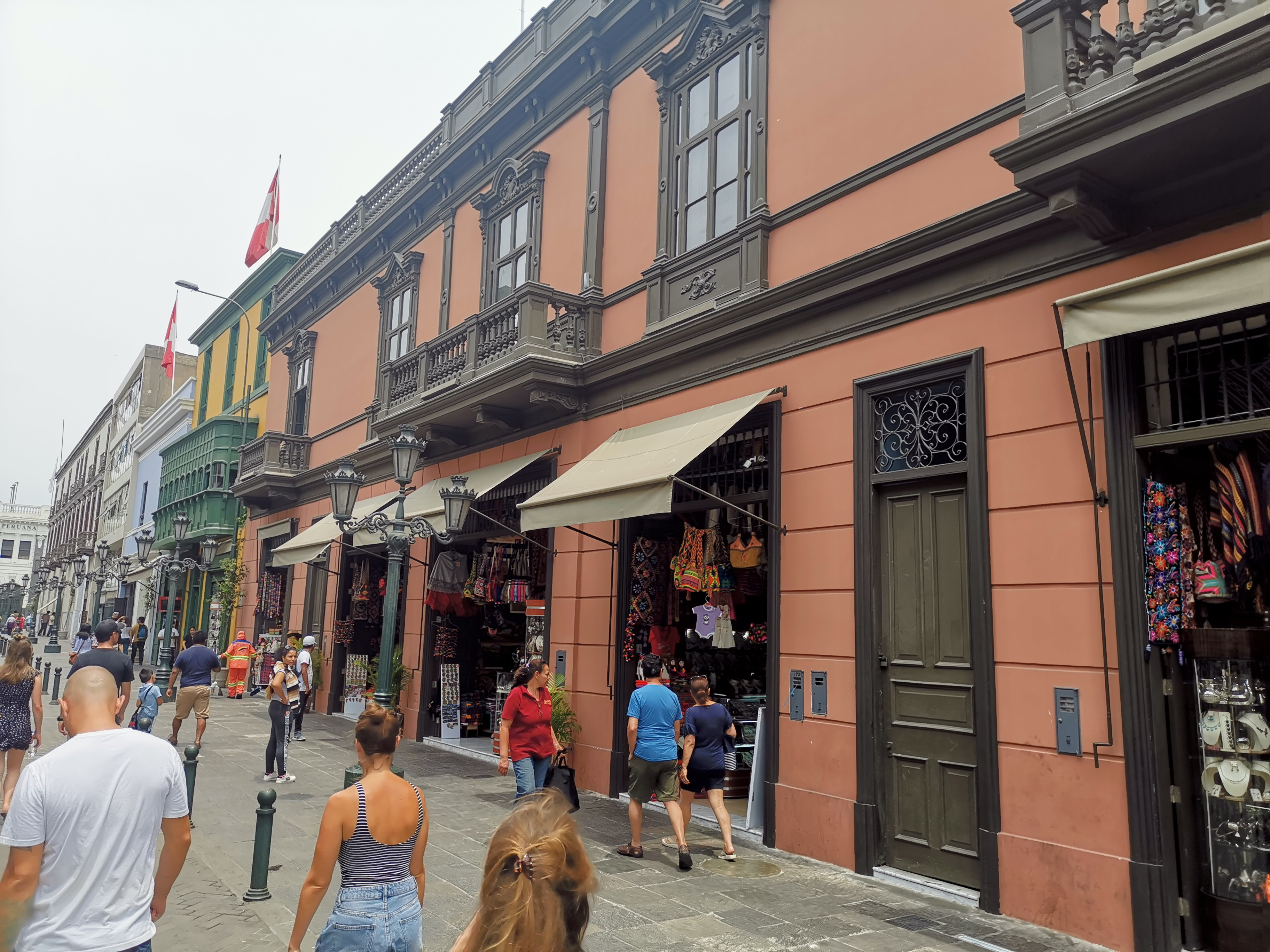 Peruvian reddish colonial buildings in Lima old-town