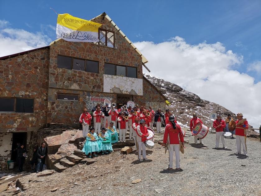 Bolivian celebration at Chacaltaya mountain